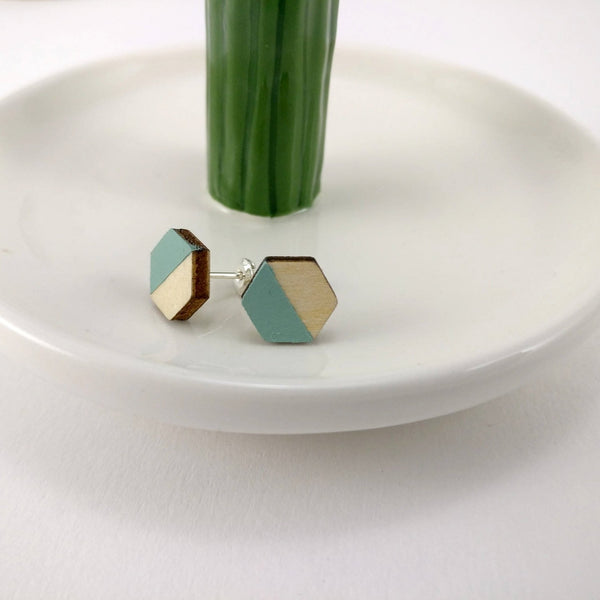 a pair of blue stud ladies earrings