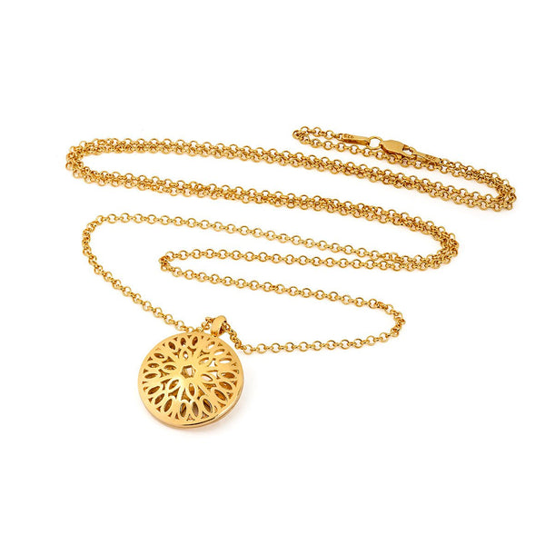 gold necklace with a gold dome pendant
