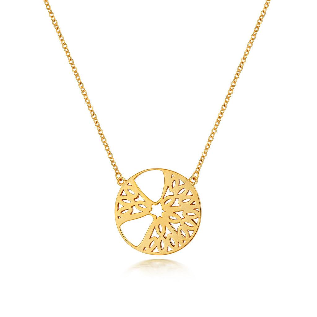 gold necklace with a gold segment pendant