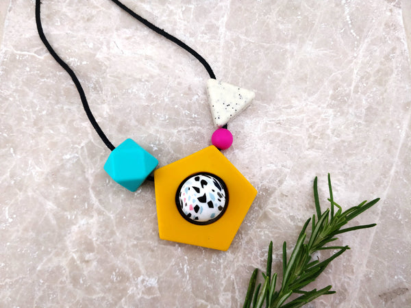 Baby Friendly Silicone Necklace - Memphis inspired Mustard | New Mum Gift