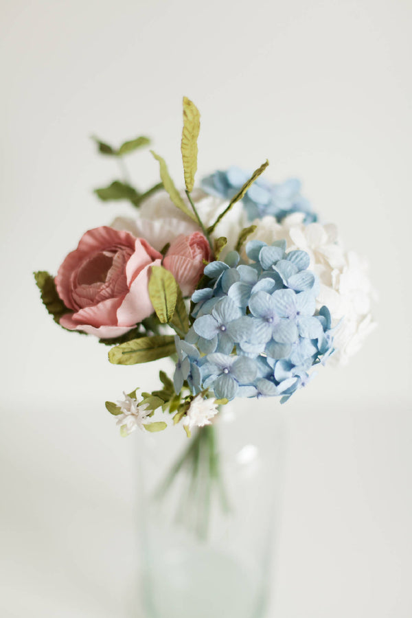 Paper Flower Pink and Blue Posy