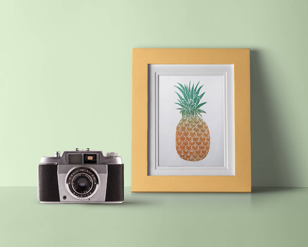 Pineapple Linocut Mounted Print