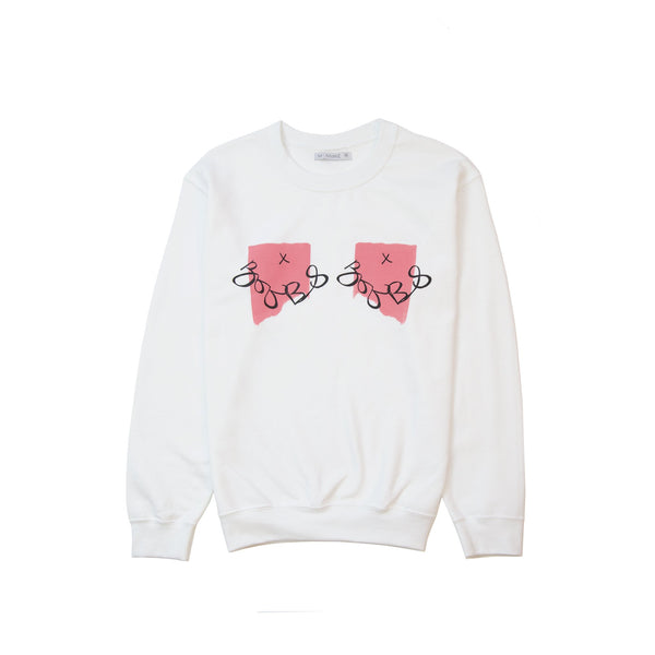 white jumper sweatshirt with pink boob design printed on it