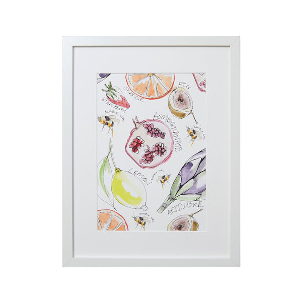 screen print of different fruit including strawberry pomegranate lemon artichoke with little bees flying around
