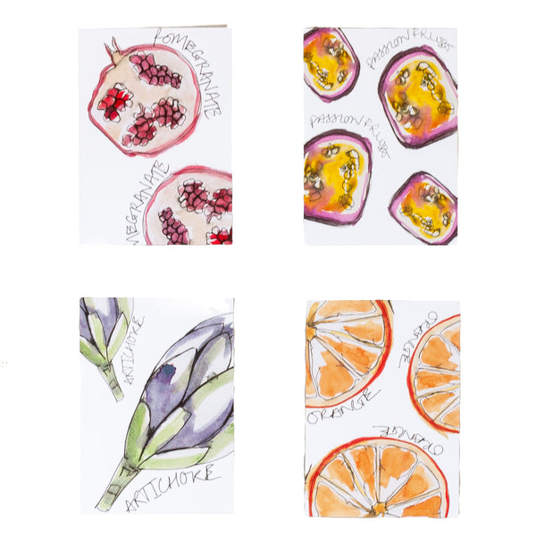 four postcards with different fruit drawn on pomegranate passion fruit artichoke orange