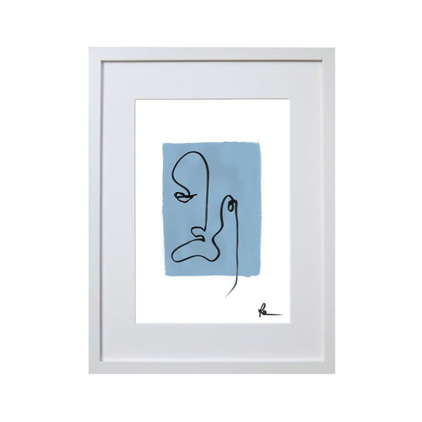 blue and black print with a simple line print of a face