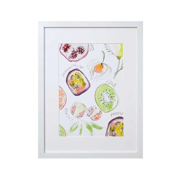 screen print of different tropical fruit including kiwi passion fruit lycee