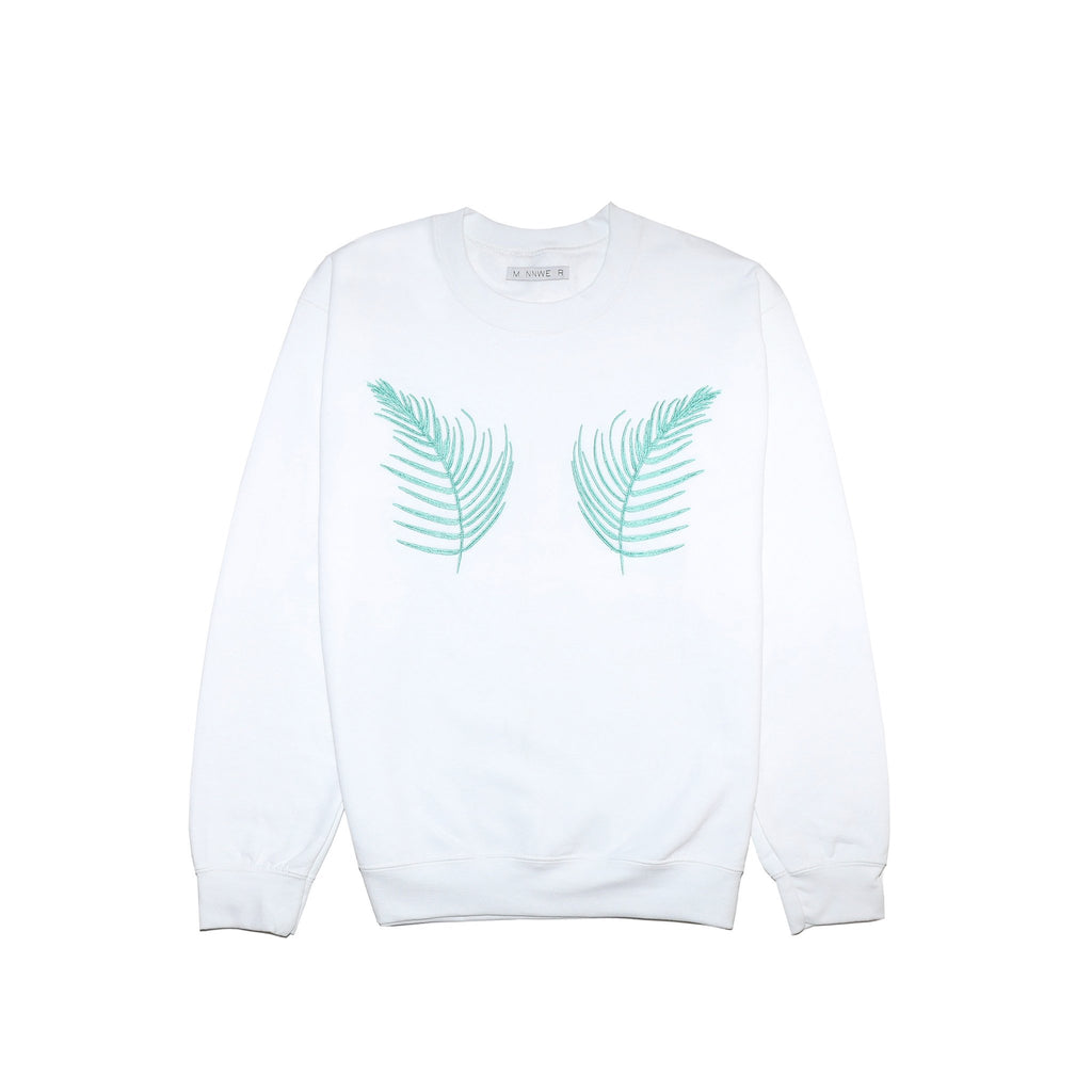 white jumper sweatshirt with green fern palm leaves embroidered on it