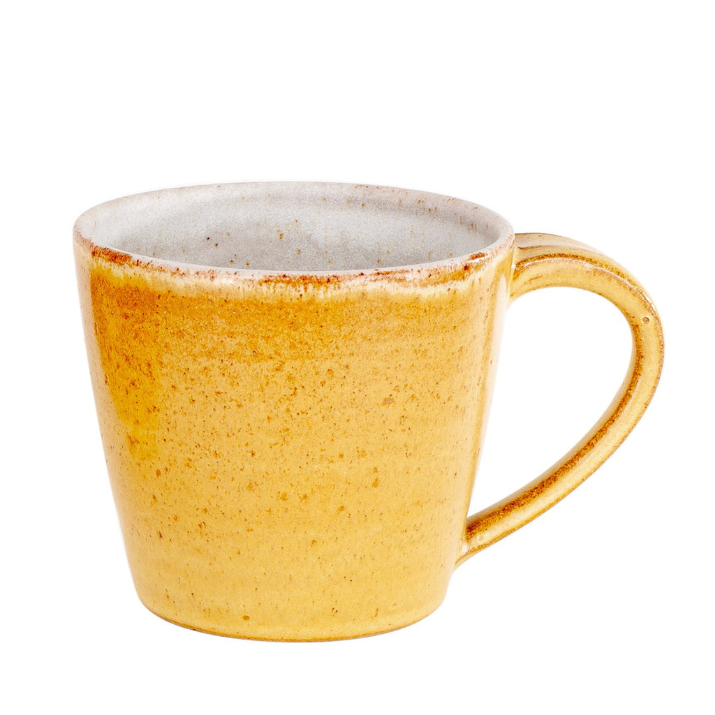 happy yellow ceramic hand thrown hand made mug