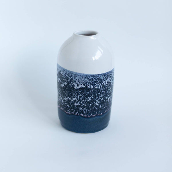 Hand-thrown White & Blue Vase