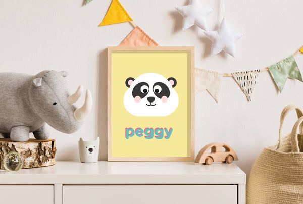 Personalised Panda Wall Print