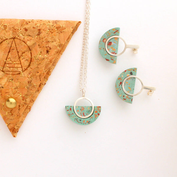 Terrazzo Jewellery Gift Set (Black, Turquoise or Pale Pink)