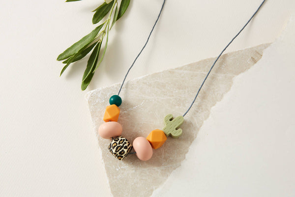 Baby Friendly Silicone Necklace - Leopard, Cactus Green | New Mum Gift | Geometric Necklace