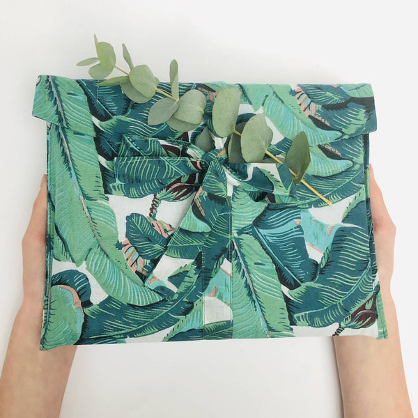 Single Banana Leaf Design Fabric Gift Bag wrapped
