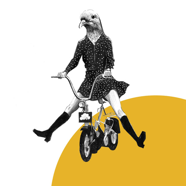 black and white drawing of a girl in a spotty dress riding a bike with a pigeon as her head on a yellow and white background