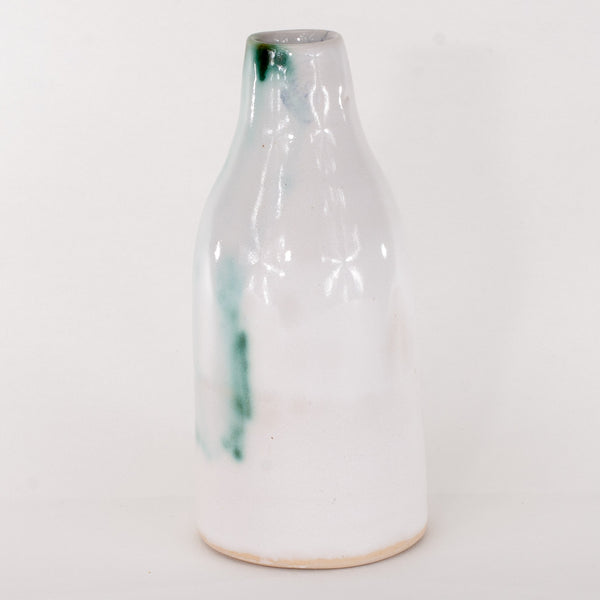 small handthrown ceramic green and white vase japanese inspired