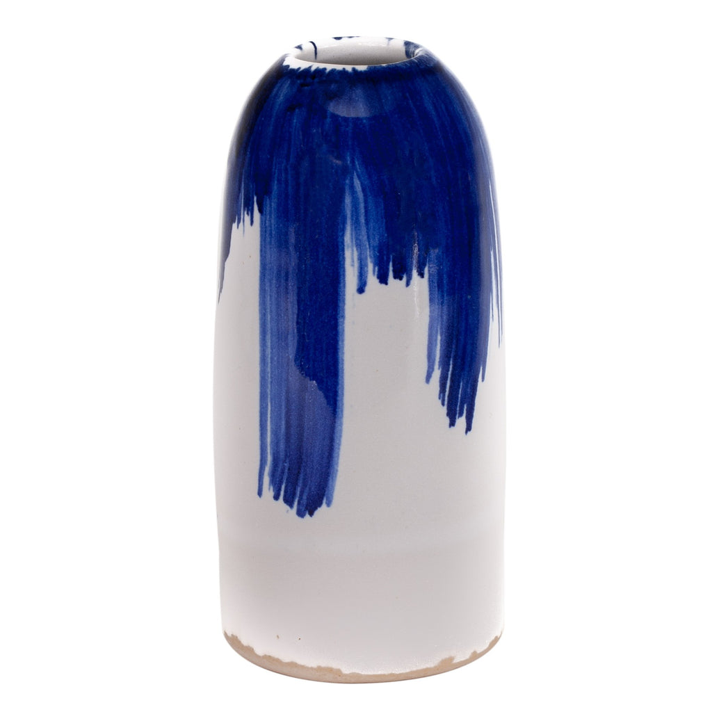 small handthrown ceramic blue white gloss vase japanese inspired