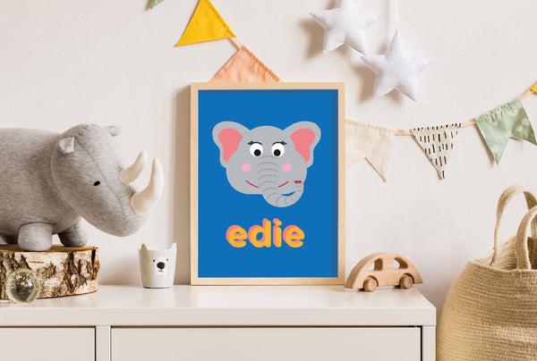 Personalised Elephant Wall Print