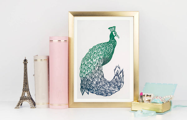 Peacock Linocut Mounted Print