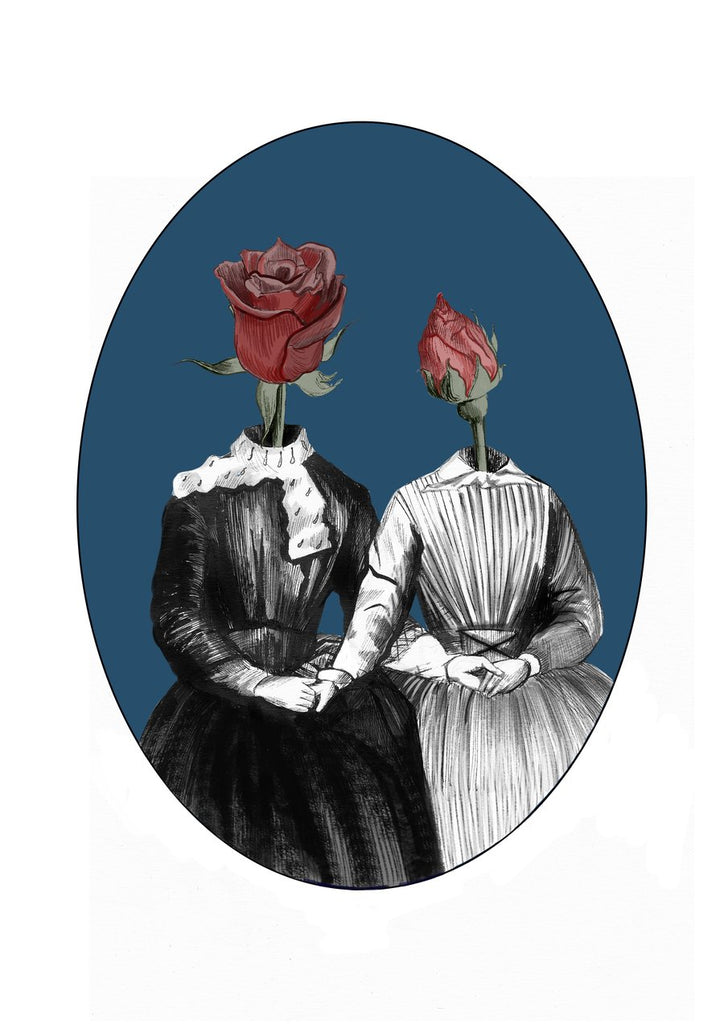 ink drawing of a mother and daughter dressed in victorian clothes holding hands with roses as their heads