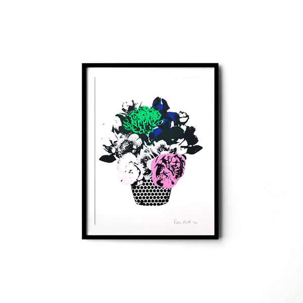 print of a neon coloured flower