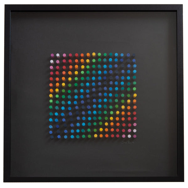 large black framed picture of crayons arranged in a colourful geometric design