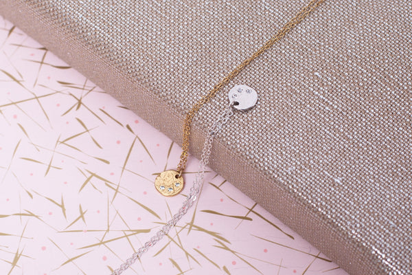 Silver Cubic Zirconia Disc Necklace - LilyKing