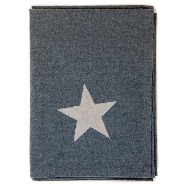 large grey cotton blanket with a silver star detail