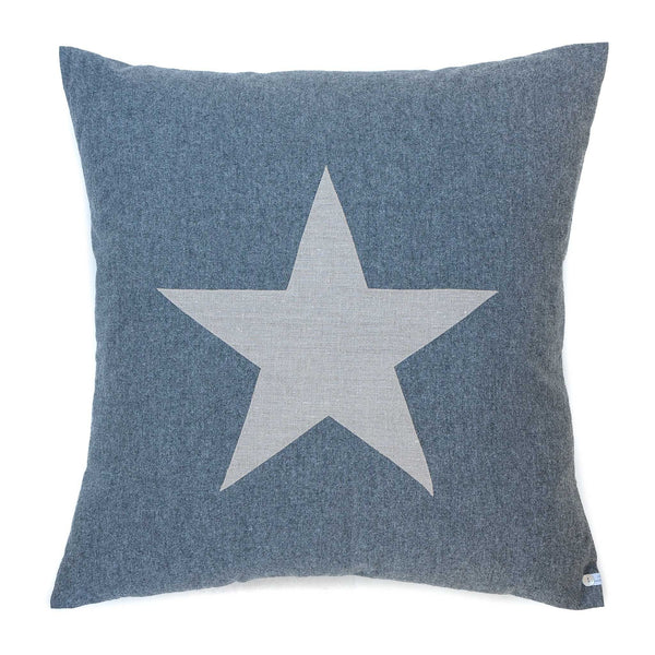 large super soft grey cotton cushion with a star detail