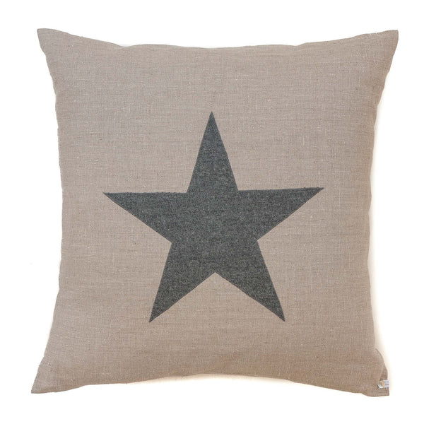 large super sofy stone natural cotton cushion with a grey star detail