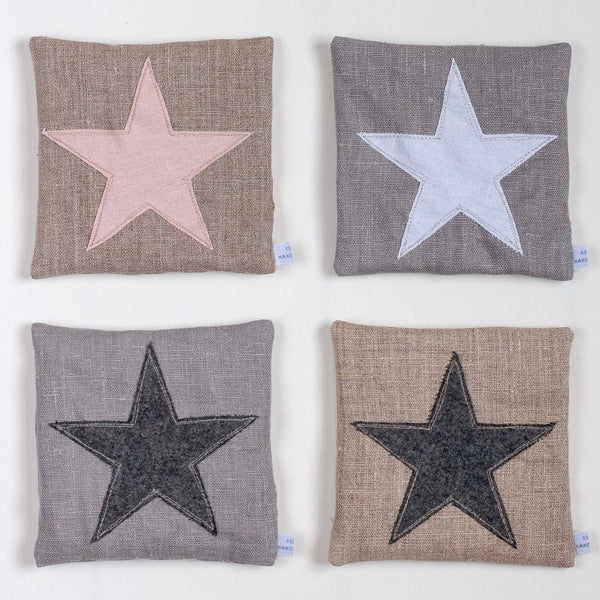 four square lavender bags with star details