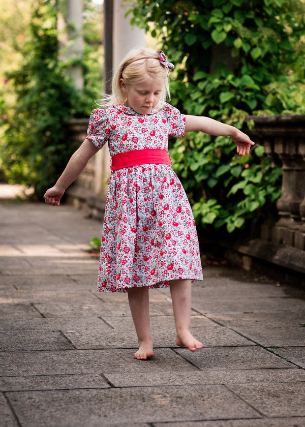 red liberty print girls dress