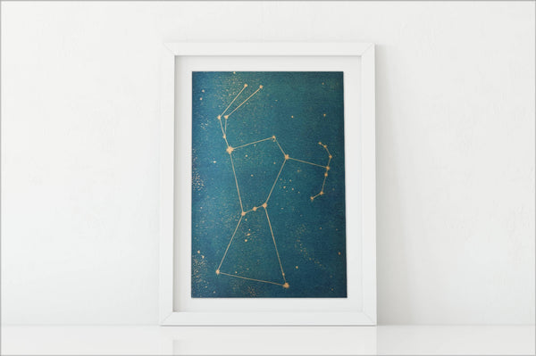 Orion Constellation Linocut Print
