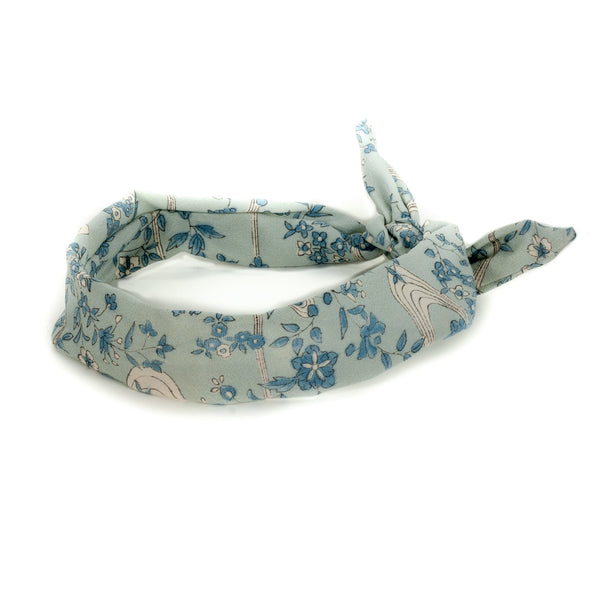 headband with a blue flower pattern made from vintage kimoni