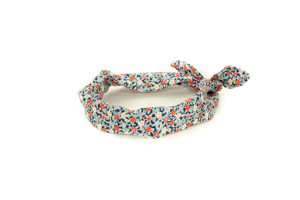 headband with a navy red green flower pattern made from vintage kimoni