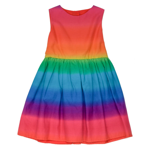 liberty print rainbow unicorn girls dress