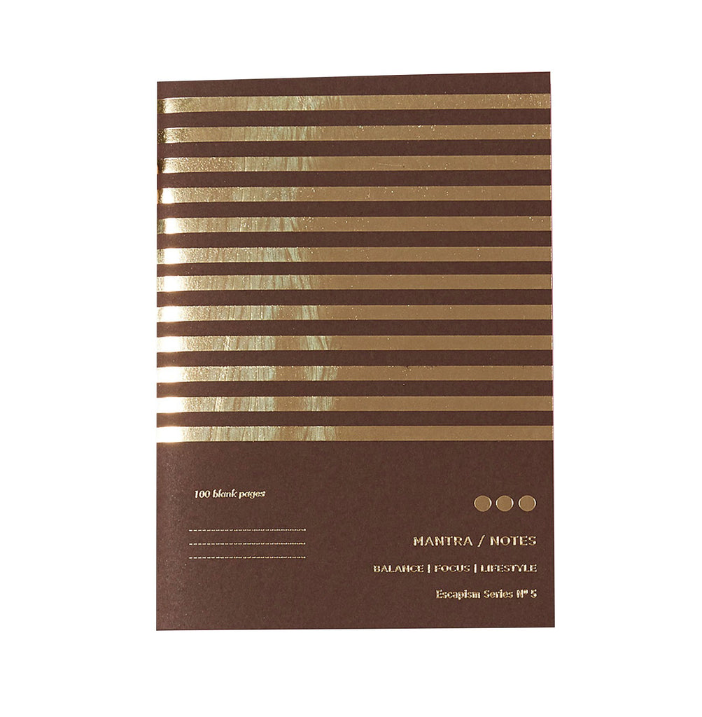 brown and gold striped notebook with the words mantra notes printed in gold