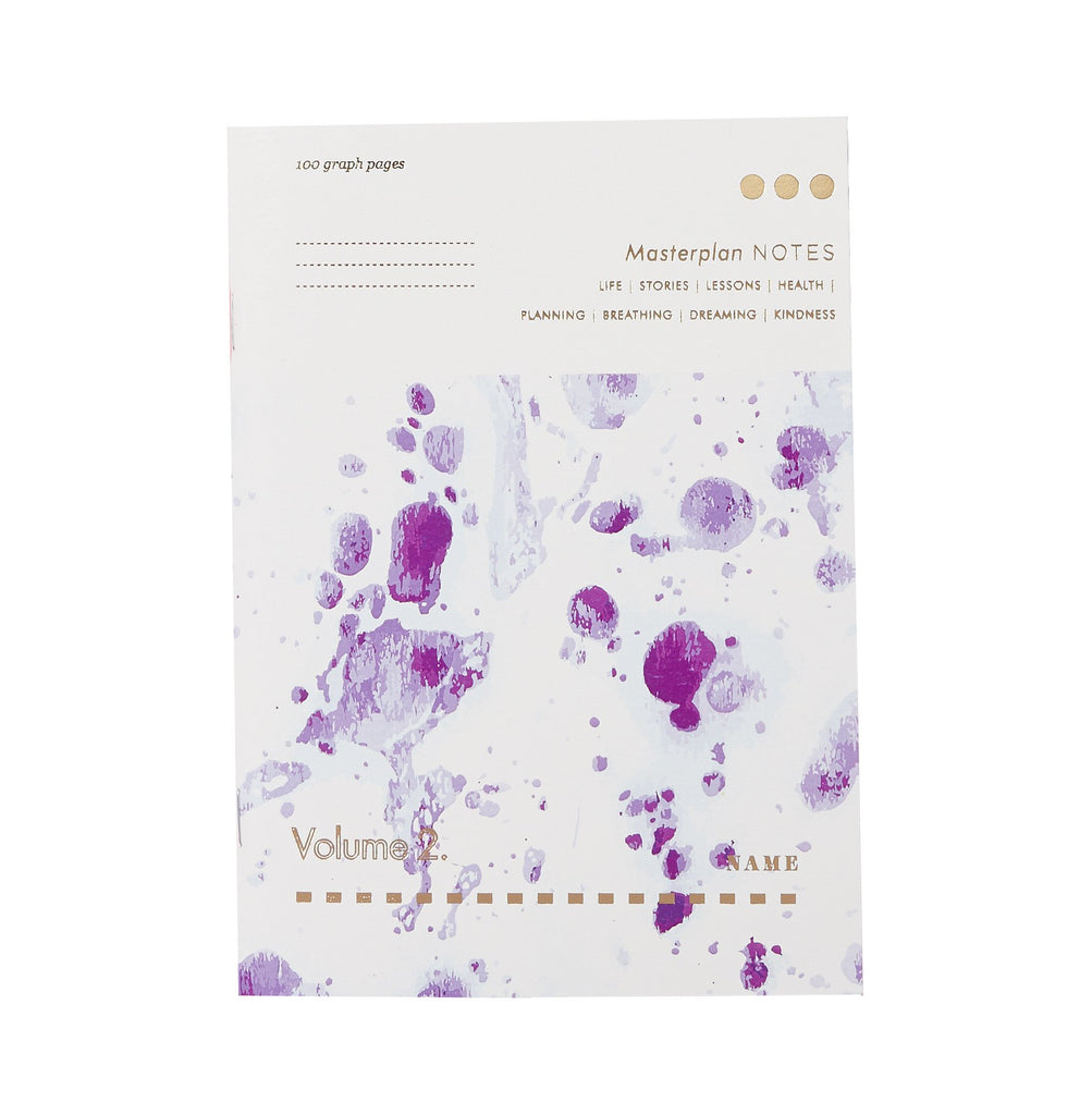 white purple marble patterned notebook with the words masterplan printed on it in gold