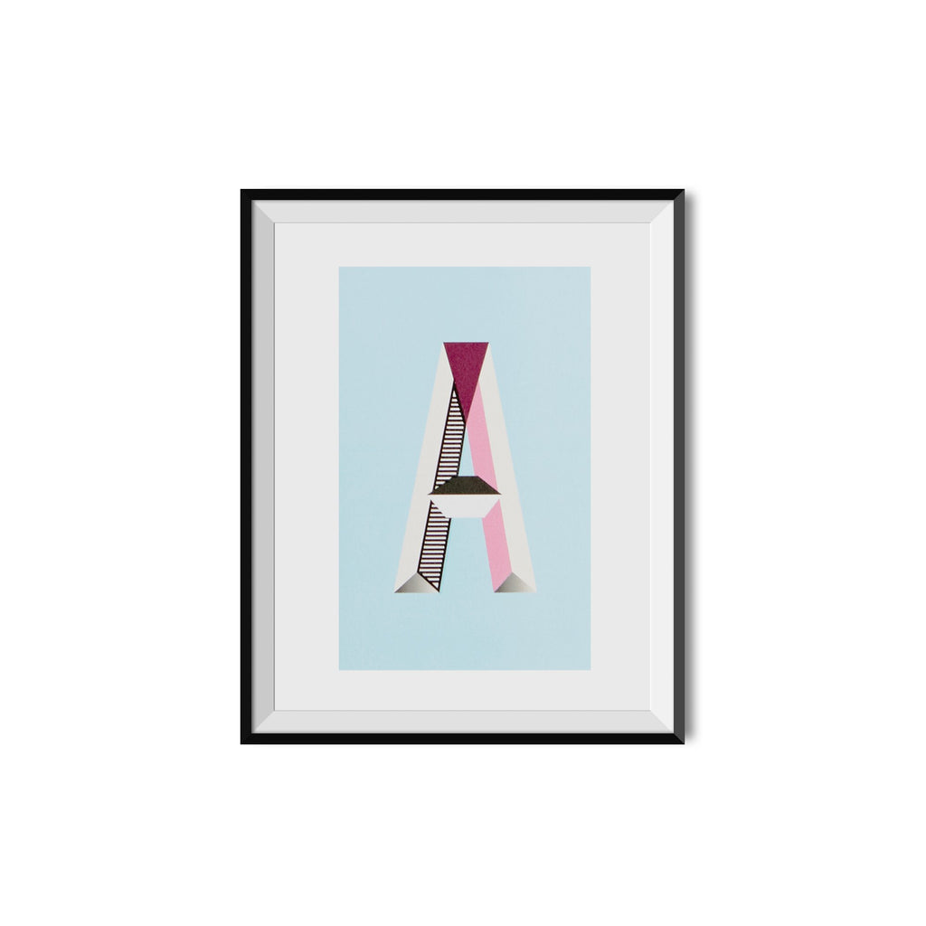 a monogram wall print of the capital alphabet letter a in a black frame