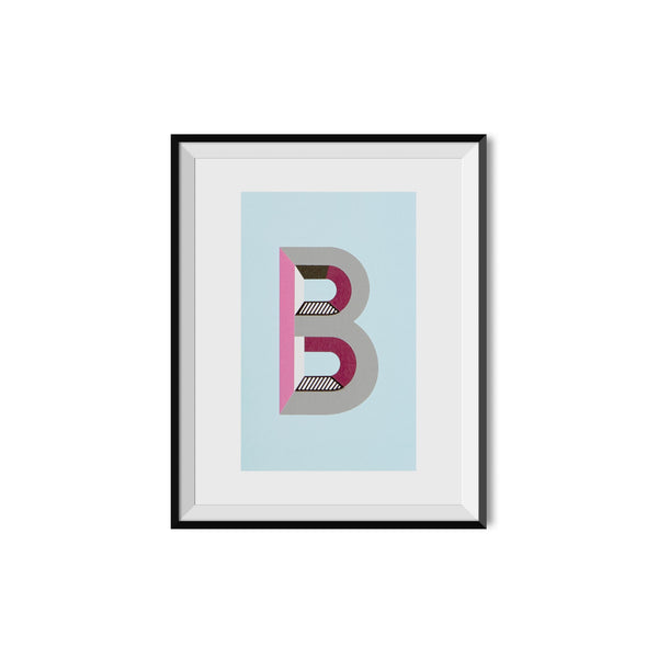a monogram wall print of the capital alphabet letter b in a black frame