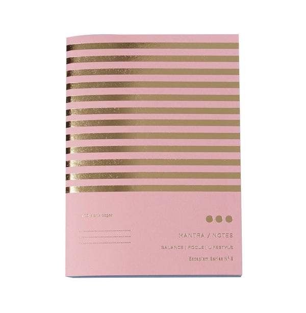pink and gold striped notebook with the words mantra notes printed in gold