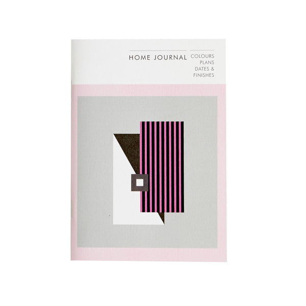 a notebook with the words home journal with a pink graphic design on it