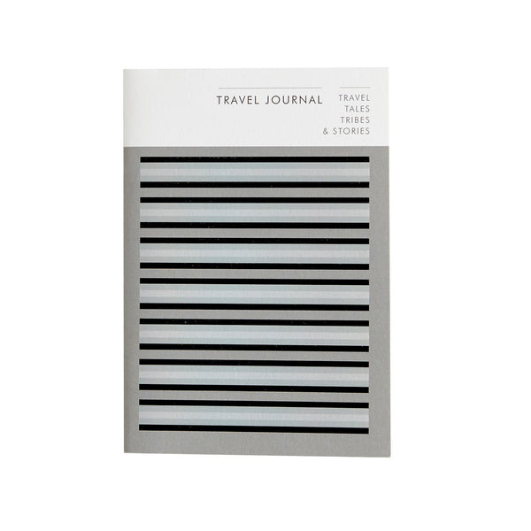 a notebook with a black blue grey horizontal stripe design with the words travel journal printed in black at the top