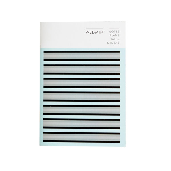 a notebook with a black blue grey horizontal stripe design with the words webmin printed in black at the top