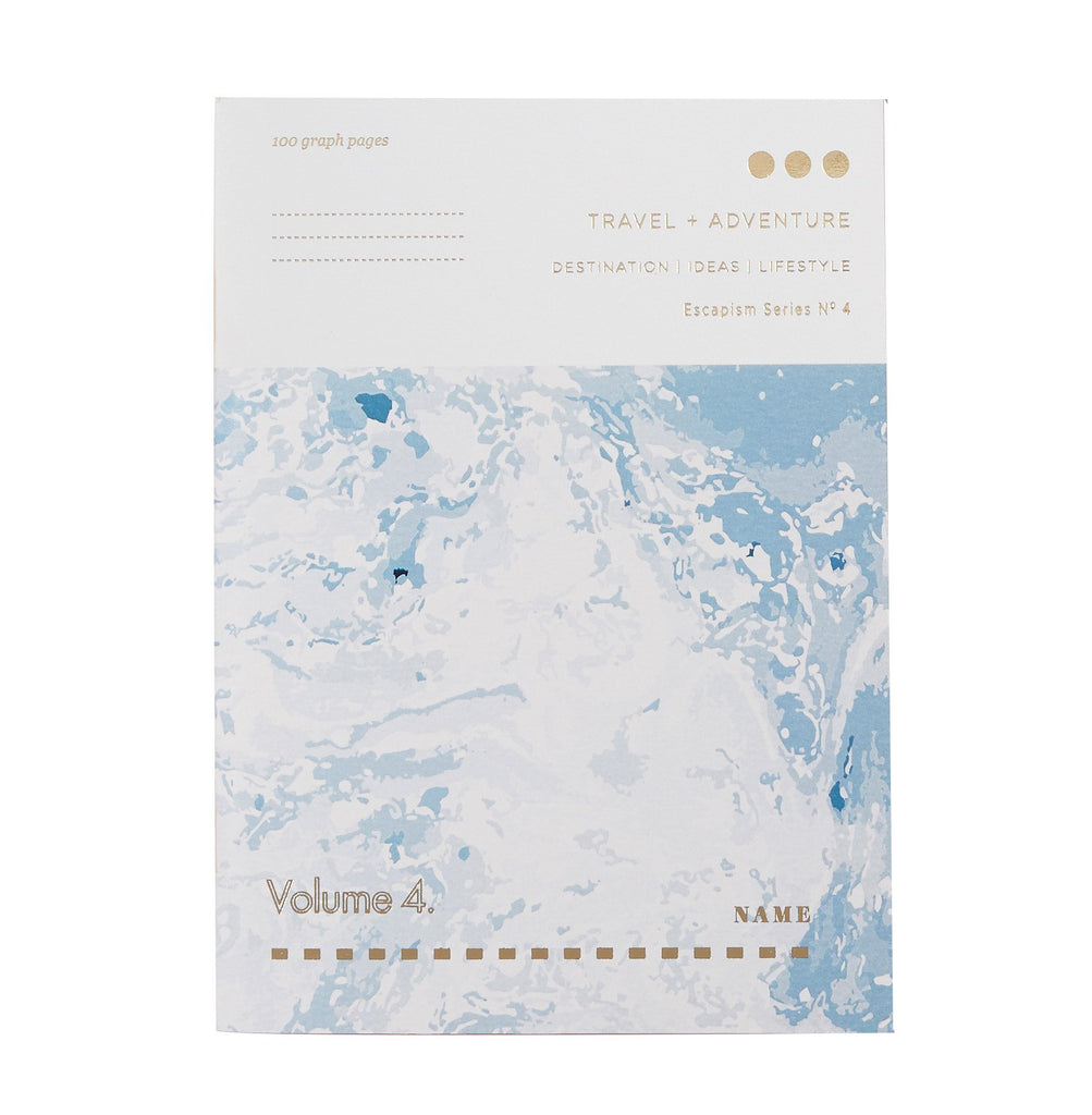 white and blue marble patterned notebook with the words travel and adventure printed on it in gold