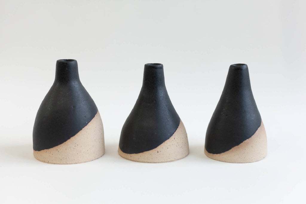 Small Matt Black Bud Vases (Set Of Three)