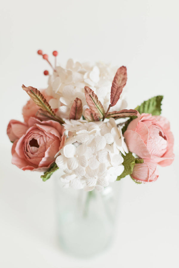 Paper Flower Pink and White Posy