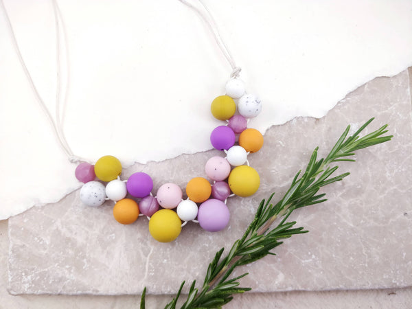 Baby Friendly Silicone Necklace - Mustard & Lilac | New Mum Gift | Geometric Necklace