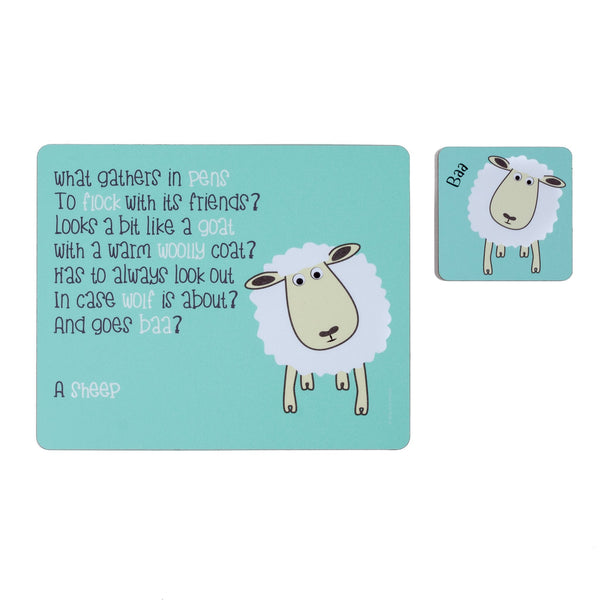 childrens blue dinner placemat and coaster set with a sheep and a poem about a sheep printed on them