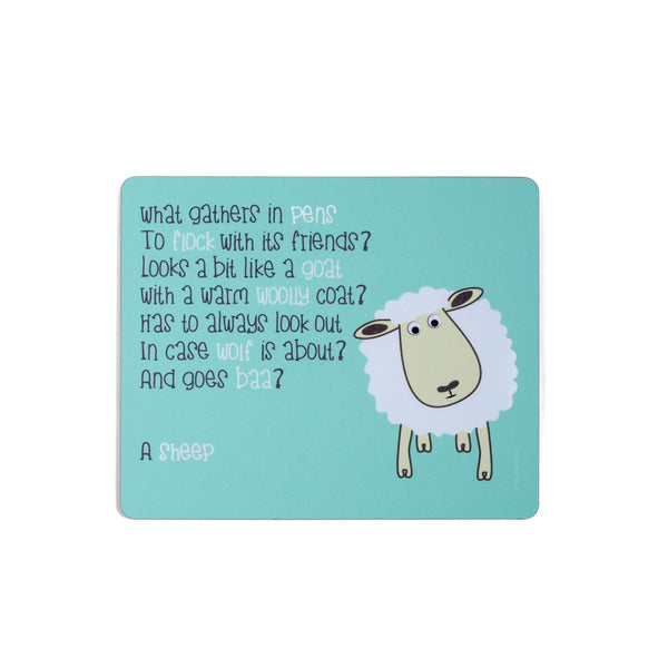 childrens blue dinner placemat with a sheep and a poem about a sheep printed on it